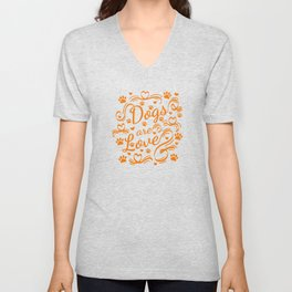 Dogs Are Love Paws And Hearts Typography Unisex V-Neck