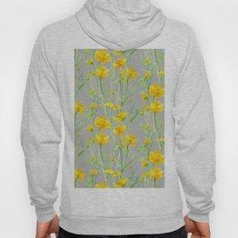 gray yellow flowers Hoody