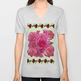CONTEMPORARY ART RED & PINK GARDEN ROSES PATTERN Unisex V-Neck