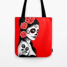 Red Day of the Dead Sugar Skull Girl Tote Bag