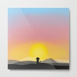 The Admirer - Little Dog Big Sunset Metal Print