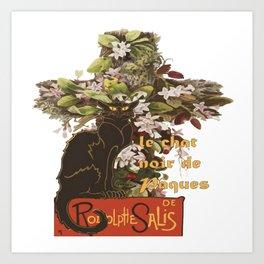 Easter Le Chat Noir de Paques With Floral Cross Art Print
