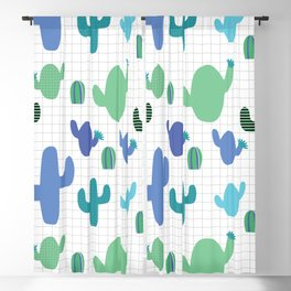 Cactus blue and green #homedecor Blackout Curtain