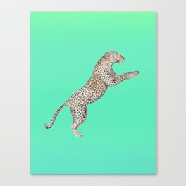 Leaping Leopard - Watercolor Canvas Print