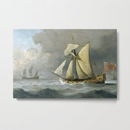 Willem van de Velde the Younger - The Cleveland Yacht at sea in a fresh breeze Metal Print