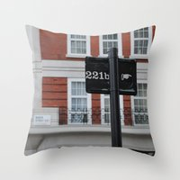 221b Throw Pillows featuring 221B by Sandrine Bandura