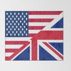 American and Union Jack Flag Throw Blanket