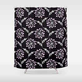 Fishnet pink flowers on a black background. Shower Curtain