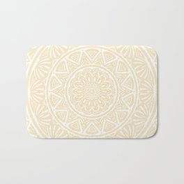 Pale Yellow Simple Simplistic Mandala Design Ethnic Tribal Pattern Bath Mat