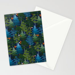 Coniferous forest with red foxes Stationery Cards