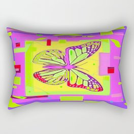 Artistc Colored Fantasy Monarch Butterfly in Lime & Pink Summer Rectangular Pillow