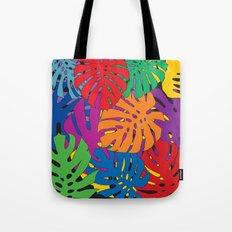 Monstera leaves in Pop Art Tote Bag