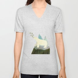 Playful Arctic Polar Bear Unisex V-Neck