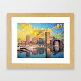 Baltimore Maryland Skyline Framed Art Print