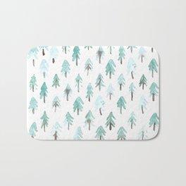 Light watercolor fir trees Bath Mat