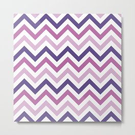 Chevron Pattern in Ultra Violet, Pink Lavender and Spring Crocus Metal Print