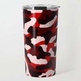 Red Pink Black Camo Camouflage Travel Mug