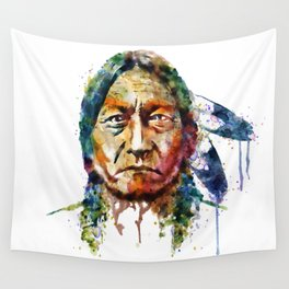 Sitting Bull watercolor painting Wall Tapestry