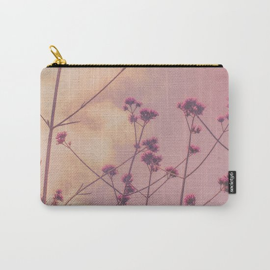 Vintage Pink Wildflowers with Dusty Purple Sky Background Carry-All Pouch