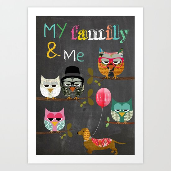 My Family and me - owls on chalkboard background. Art Print