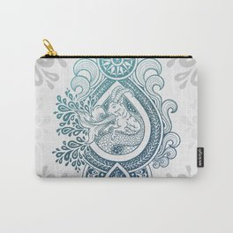 Paisley Capricornus | Turquoise Blue Ombré Carry-All Pouch