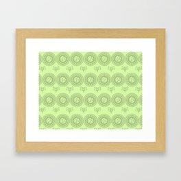 green boho pattern with mandalas and flowers Framed Art Print