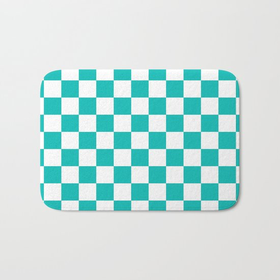 Checker (Tiffany Blue/White) Bath Mat