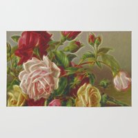 vintage flowers Area & Throw Rugs featuring Vintage Flowers by Lucia
