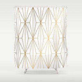 Gold Geometric Pattern Illustration Shower Curtain