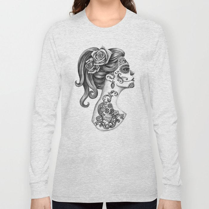 d5dc406bd8a49 Day of the Dead Girl Long Sleeve T-shirt by vivianlau | Society6