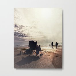 Silhouettes on the beach landscape photograph Metal Print