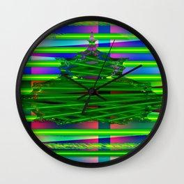 Fraktal and stripes Wall Clock