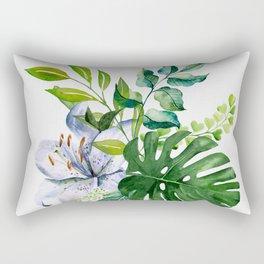 Flower and Leaves Rectangular Pillow