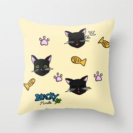 Blacky the cat Throw Pillow