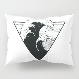 Wave Triangle black and white Illlustration sea swell Pillow Sham