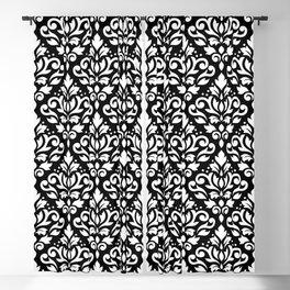 Scroll Damask Large Pattern White on Black Blackout Curtain