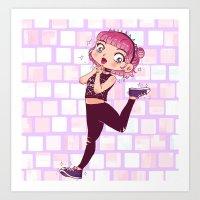 Pink Alternative Girl  Art Print