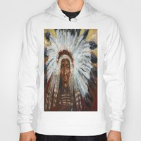 native american Hoodies featuring Native American by Mary J. Welty