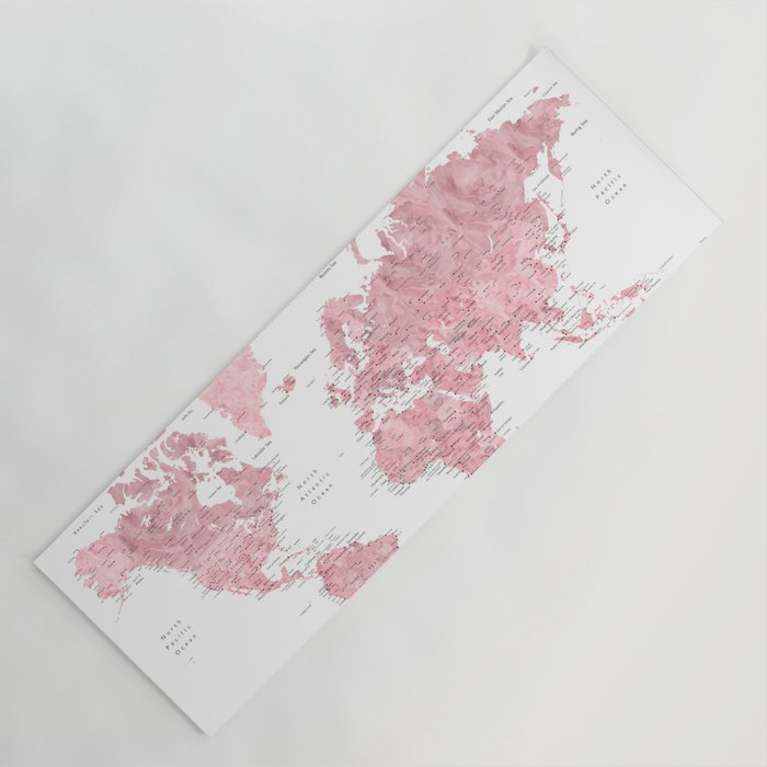Light Pink Watercolor World Map With Cities Square Yoga Mat By Blursbyaishop Society6
