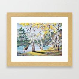 Paint by Numbers Deer Woodland Scene Framed Art Print
