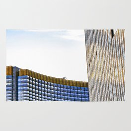 modern buildings with blue at Las Vegas, USA Rug