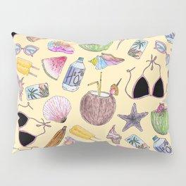 Summer Cute Girly Beach Collage on Yellow Pillow Sham