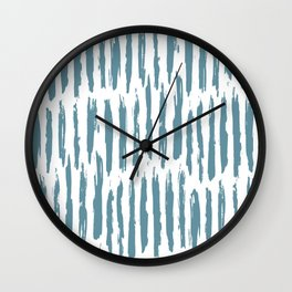 Vertical Dash Teal on White Wall Clock