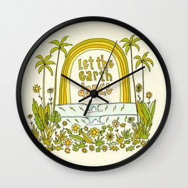 let the earth dance // retro surf art by surfy birdy Wall Clock
