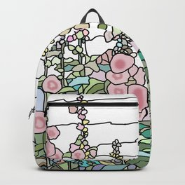 flowers and leaves on white background Backpack