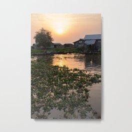 Sunset over Ganvie, Benin Metal Print