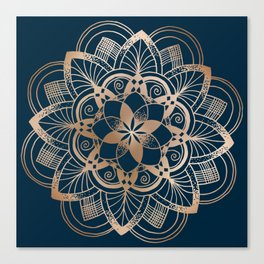 Lotus metal mandala on blue Canvas Print