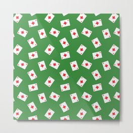 Playing cards diamonds suit on green Metal Print