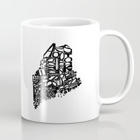 maine Mugs featuring Typographic Maine by CAPow!