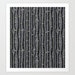 Birds & Birch - Night Art Print